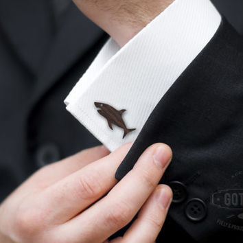 SHARK Cufflinks - rosewood laser cut shark cuff links