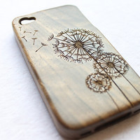 iphone 4 case, iphone 4s case, engraved wood iphone 4 case, wood iphone 4s case, walnut dandelion
