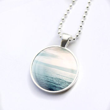 nautical necklace beach ocean pendant nautical glass tile pendant photography dome necklace navy blue ocean sunset necklace waves pendant