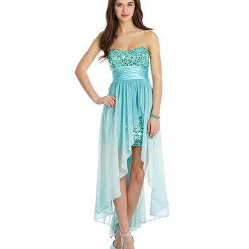 Xtraordinary Sequin Ombre Hi-Low Dress | Dillards.com