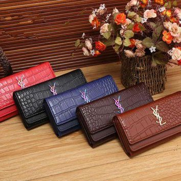 DCCK6HW Yves Saint Laurent YSL' Women Fashion Crocodile Pattern Long Section Purse Button Three Fold Wallet Handbag