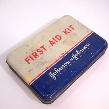 Vintage First Aid Kit Johnson & Johnson Metal Tin Box Empty Industrial Decor