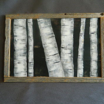 Handpainted White Birch, Black Background, reclaimed barnwood pallet art, rustic and shabby chic