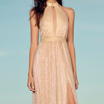 Be A Star Gold Halter Maxi Dress