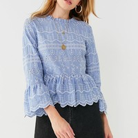 UO Embroidered Scallop Top | Urban Outfitters Canada
