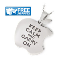 Keep Calm Necklace - Apple Logo Purity Necklace with Engraving,  a Perfect gift for all Apple Products Lovers