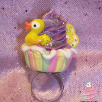 Sweet Pastel Duckie Scented Cupcake Ring