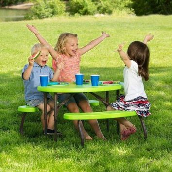 Childrens Picnic Table Folding Outdoor Indoor Kids Play Garden Yard Green