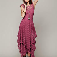 Boho People hippie Asymmetrical embroidery Sheer lace slip dresses double layered with ruffled trimming low V-back