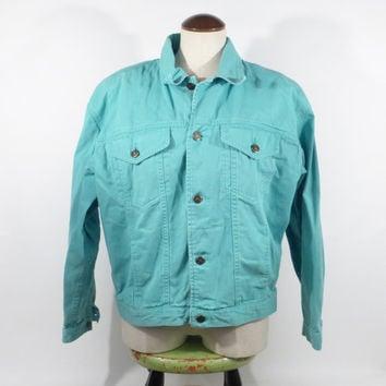 Liz Wear Jacket Vintage 1990s Light Teal Brushed Twill Women's