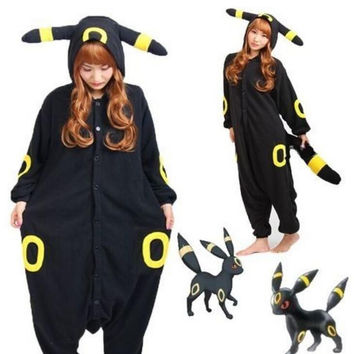 New Kigurumi Pokemon Go Umbreon Romper Fleece Pajamas Cosplay Costume Animal Onesuit Sleepwear