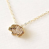 Gold Sheep Necklace, Gold-Plated Crystal Setting Sheep Pendant, Gold-Filled Chain. Gift. N109.