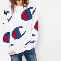 Champion Oversized Boyfriend Sweatshirt In All Over Logo Print