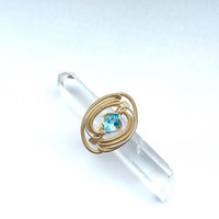 Size 7 Sterling Silver Gold fill Blue Topaz Faceted Gemstone Wire Wrapped