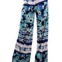 Tie Dye Pants - Mint/Royal