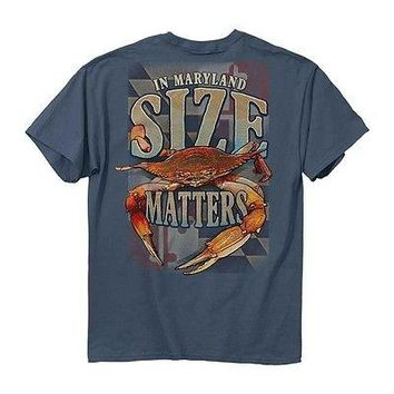 New SIZE MATTERS IN MARYLAND CRAB   T  SHIRT MARYLAND FLAG