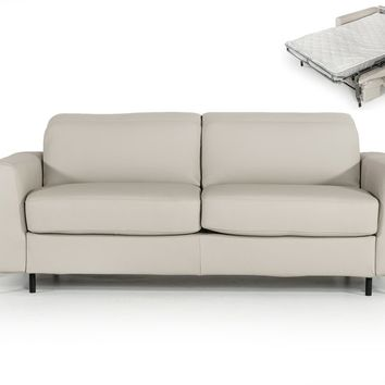 Estro Salotti Tourquois Italian Modern Light Grey Leather Sofa Bed