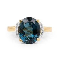 An Ethically Mined 14K Yellow Gold 6CT Oval Cut Genuine Peacock Blue Green Topaz & White Diamond Ring