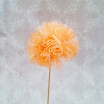 Tulle Party Pom Pom Cupcake Topper Picks Orange and White Cupcake Decoration for Birthday, Office Parties, Bridal Showers, Baby Showers