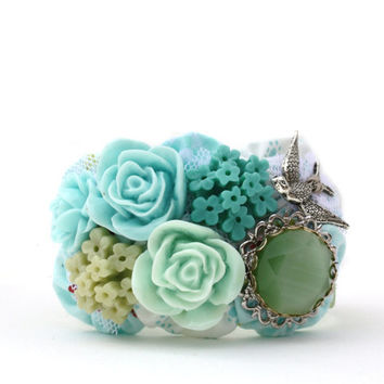 Bird Garden Cuff Bracelet in Aqua Blues Teals and by AppleWhite