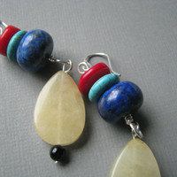 Multi Stone Colorful Earrings, Yellow Jade, Red Coral & Lapis, Beaded Jewelry, Dangle Earrings