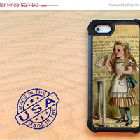 SALE Vintage Alice in Wonderland iPhone 5 case with extra protection - Cute iPhone 5 hard case, 2 piece rubber lining case