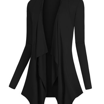 Urban CoCo Women's Drape Front Open Cardigan Long Sleeve Irregular Hem
