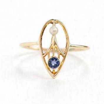 DCCKHD9 Antique Art Deco 14k Yellow Gold Genuine Sapphire & Seed Pearl Ring- 1920s 1930 Tear D