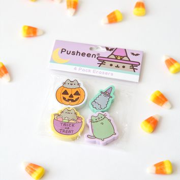 Pusheen Halloween 4 pack eraser set