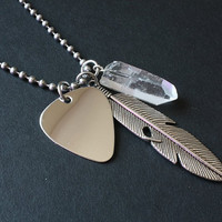 Men's Guitar Pick Charm Necklace - Crystal Quartz & Stainless Steel - Musician Necklace