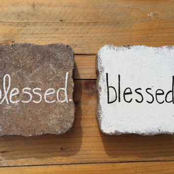 Blessed Sign, Garden Yard Art Sign, Rustic Home Decor, Housewarming Gift, Custom Brick Sign, Gift for Her