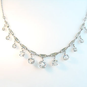 Art Deco Necklace Open Back Crystals w/ Baguettes Sterling Silver Rope Chain Vintage Wedding