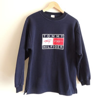 Vintage TOMMY HILFIGER navy 100% Cotton sweater, size 176