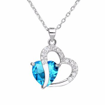 Bella Fashion 925 Sterling Silver Heart Love Bridal Necklace Cubic Zircon Pendant Necklace Wedding Party Jewelry