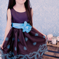 Chocolate Brown Organza Dress with Turquoise Floral Embroidery & Satin Trim (Girls Sizes 2T - 12)