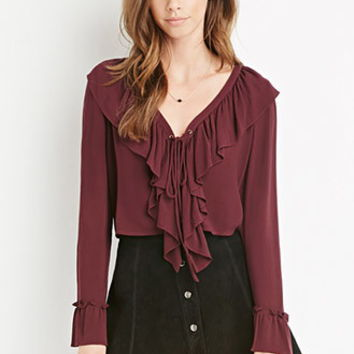Ruffled Crisscross-Front Top