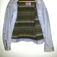 90s Vintage Denim Jacket by RG BROWNS Aztec Blanket Lined Button Up Jean Coat Southwest Grunge Boho Men Women XL