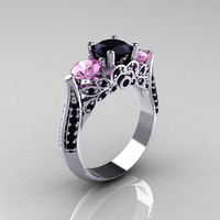 Reserved for Cat - 10K White Gold Three Stone Light Pink Sapphire Black Diamond Solitaire Ring R200-10KWGBDLPS