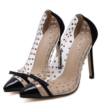 Hadley Clear Rivet Pumps