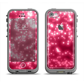 The Glowing Unfocused Pink Circles Apple iPhone 5c LifeProof Fre Case Skin Set