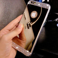 Luxury Rhinestone Diamond Mirror TPU Soft Gel Bling Case Cover For Apple iPhone 5 5s 6 6S 4.7'' 6 plus 5.5'' Case Back Cover