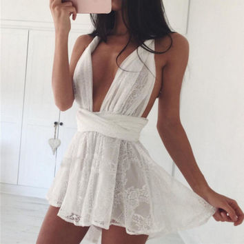 2016 Summer Women Lace Beach Boho Dress Casual Deep V Neck Sleeveless Backless Party Dress White Strap Swimmwear Beach Vestidos
