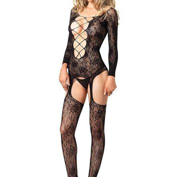 DCCKLP2 Seamless floral lace long sleeve suspender bodystocking in BLACK