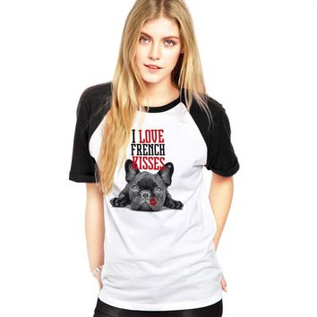 I Love French Kisses French Bulldog T-Shirts - Women's Top Tee
