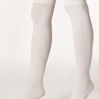 rsaskopkc - Opaque Over-the-Knee Cable Knit Sock