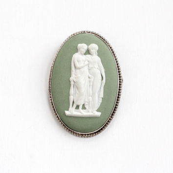 Vintage Wedgwood Sterling Silver Goddess Cameo Brooch - Large Oval Green Jasperware Jewelry Pin, Two Muses Made in England 69B