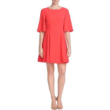 CeCe Womens Crepe Bell Sleeves Flounce Dress