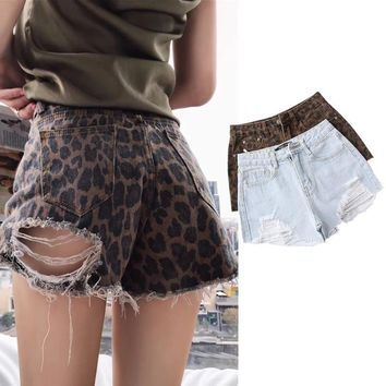 Vintage Leopard Print Ripped Jeans Women Summer Streetwear Washed High Waist Denim Shorts Casual Short Jeans Feminino New