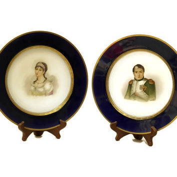 Napoleon and Josephine Hand Painted Porcelain Plates. French Antique Sevres Porcelain Cabinet Plates. French Blue and White Wall Plates.