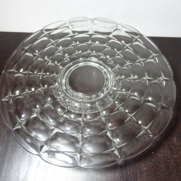Vintage Pressed/Cut Glass Pedestal Cake Stand with Scalloped Edge and Bubble Design